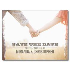 Soft Modern Wedding Save the Date Photo Postcard #savethedate #wedding #engagement