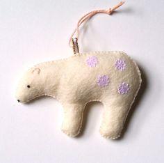 Christmas Ornament Polar Bear Cream White Holiday Home by mikaart $17.99