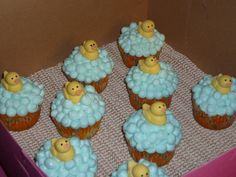 Duck Cupcakes - Cupcakes with buttercream icing and fondant ducks