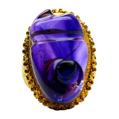 Buccellati Free-form Amethyst Ring ,Exquisite Buccellati signed 18kt yellow gold engraved ring featuring a stunning free-form 26.62ct amethyst center stone.