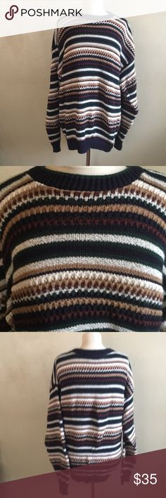 Vintage Striped Holiday Sweater Size Large made in the USA MEASUREMENTS  Pit to pit: 23 Length: 26/27 Vintage Sweaters Crew & Scoop Necks