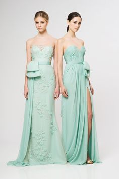 May, What do you think about the one on the right, but in a more pastel mint color, less aqua? mint green bridesmaid dresses  Reem Acra 2013