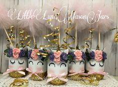 The perfect centerpiece for that unicorn themed birthday party! You get to choose what size of jar you need and how many. If you would like to add Pom Poms please message me for pricing. All of the hand painted giggling and bashful unicorns are blushing and wearing flower halos.