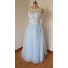 2015 Scoop Sweetheart Ivory Lace Light Sky Blue Tulle Long Prom Dress... ($119) ❤ liked on Polyvore featuring dresses, grey, women's clothing, gray dress, gray prom dresses, grey lace dress, grey dress and long ivory dress