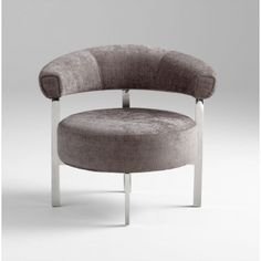 $1485  The Sir. Richard Chair has plenty of geometric clean lines and is great addition to your modern space. Subtle and soft grey-lilac chenille fabric covers the chair and finished off with a steel frame in a chrome finish.  34.5W x 28D x 31H