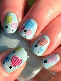 Hot air balloon nail art hot air balloons air balloon and nail nail hot air balloons prinsesfo Choice Image