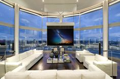 This penthouse has spectacular views! Would you live in a highrise if it had views like this?   #homes #penthouse #cityviews