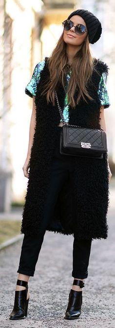 #crop #top #trend Spring #outfitideas |Black Faux Fur Long Vest + Emerald Sequin Crop Top