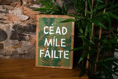 Céad míle fáilte - a hundred thousand welcomes - Irish - greeting - welcome - wood sign - screen print - Ireland - wall art - Irish saying - foliage - typography Irish Greetings, Welcome Wood Sign, Dandelion Designs, Irish Quotes, Wood Plaques, Typography, Lettering, Picture Show, Wood Signs