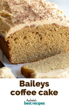 Dessert Cake Recipes, Just Desserts, Baileys Cake, Baileys Recipes, Loaf Cake, Coffee Cake Loaf, Tea Loaf, Australian Food, Food Cakes