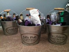 Groomsmen gifts. Personalized beer buckets filled with fall flavor beer & everything for the wedding. Found on Etsy.com