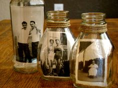 You don't have to glue or sew - just gently wiggle photos in old jars and ta-da! Super cool photo display!