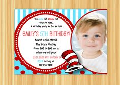 DIY Printable Invitation. Cat and the Hat Inspired Birthday Invitation with Photo.