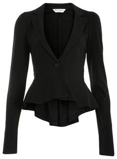 Black Jersey Peplum Blazer
