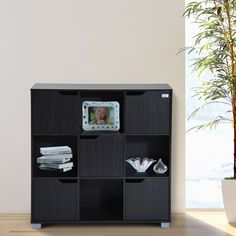 HomCom Office Bookshelf 9 Cube Storage Organizer With Doors Black * Visit the image link more details. (This is an affiliate link) Office Bookshelves, Cube Bookcase, Bookcase Storage, Bookcase Organization, Shelf Organizer, Standing Shelves, Cube Unit, Cubby Storage, Furniture
