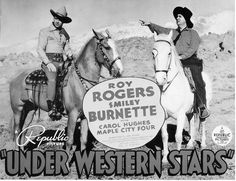 UNDER WESTERN SKIES (1938) - Roy Rogers & Smiley Burnett - Republic Pictures - Lobby Card.
