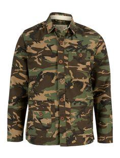 Khaki Camouflaged Shirt Jacket