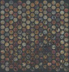 Ceramic Liquid Metal Penny Round Mosaic - CS19G - Glamour - Flooring by Shaw