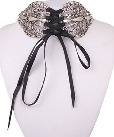 Black & Silvertone Lace-Up Choker Necklace