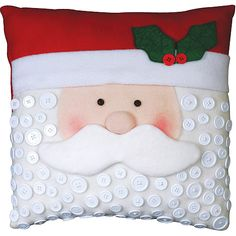 Santa Pillow Felt Applique Kit Plus Christmas Sewing, Noel Christmas, Christmas Pillow, Christmas Stockings, Christmas Cushions To Make, Christmas Quilting, Santa Crafts, Christmas Projects, Holiday Crafts