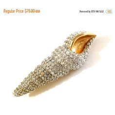 Swarovski Paved Crystal Brooch, Figural Torticone Shell, Gold Tone,... ($68) ❤ liked on Polyvore featuring jewelry, brooches, vintage broach, pave crystal jewelry, vintage jewelry, vintage crystal brooch and pin jewelry