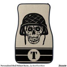Personalized Skull Helmet Racing Stripes Car Floor Mat