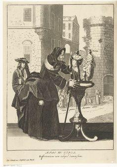Pieter van den Berge   Weduwe, Pieter van den Berge, Pieter Schenk (I), unknown, 1694 - 1737   Een oude vrouw gekleed in het zwart is bezig twee beeldjes op een sokkel te schikken. Het gaat om beelden van Pietas en Charitas. Op de achtergrond een scène uit de armenzorg. Prent uit een reeks van vier prenten met de levensfasen van de vrouw.