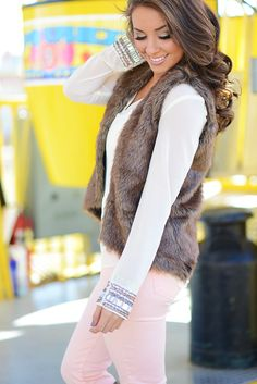 Fur Vest -Lighter/Bright Look with Pink Jeans