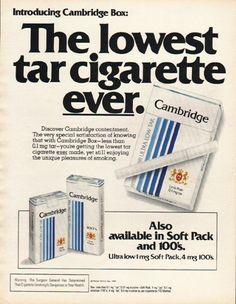 "1980 CAMBRIDGE CIGARETTES vintage magazine advertisement ""lowest tar cigarette"" ~ Introducing Cambridge Box: The lowest tar cigarette ever.  ~"