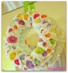 Ruffle wreath for spring...going to have to buy a sewing machine.