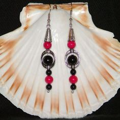 Black Swarovski crystal pearl and hot pink fossil dangle earrings