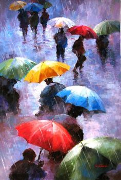 """Rainy Day People"" Oil painting Paul Guy Gantner"