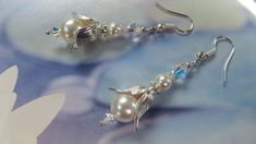 MODERN BELL PEARL Earring Crystal Contemporary by MaChericomau