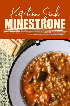 Kitchen Sink Minestrone Soup is a great way to use up any leftovers you have hanging around to include vegetables, pasta, broth, beans... almost anything works! You can get creative and adapt this versatile soup for what you have! #minestrone #soup #souprecipe