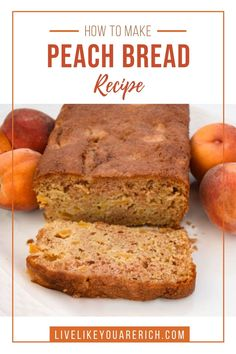 This Delicious Peach Bread Recipe is quite easy to make. It is nice and soft with bits of peaches to bite into. The peaches are complimented well by vanilla and cinnamon sugar flavors. It's a wonderful way to enjoy summer's best peaches! Zucchini Bread Recipes, Quick Bread Recipes, Easy Recipes, Peach Bread, Dinner Bread, Butter Recipe, Breakfast Recipes, Easy Meals