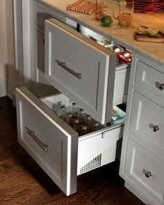housing a set of refrigerator drawers in an island extends. Black Bedroom Furniture Sets. Home Design Ideas