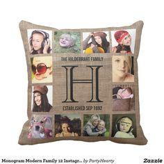 Monogram Modern Family 12 Instagram Photos Throw Pillow