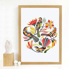 Add a touch of kiwiana to your home with this NZ inspired print. Large Wall Decals, New Zealand Art, Kiwiana, Tree Designs, Colorful Birds, Cross Stitch Embroidery, Canvas Art, Tapestry, Watercolor