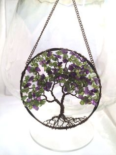 SunCatcher Tree of Life  Amethyst and Peridot on by Just4FunDesign