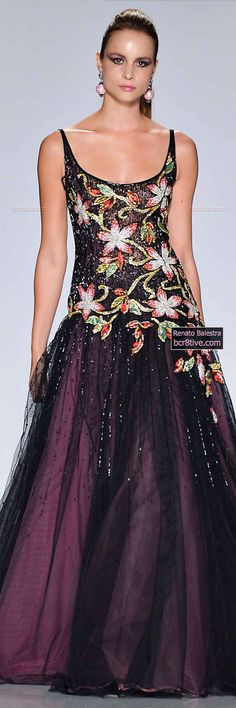 Embroidered Bodice with Black Tulle and Pink Lined Skirting