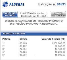 Resultado da Loteria Federal 04831 – 11/01/2014