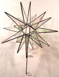 Moravian Star Tree Topper (Medium 18 point, iridescent glass)
