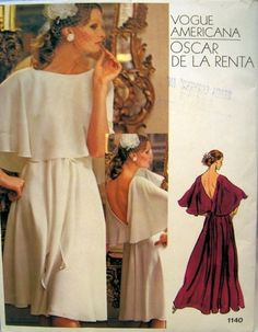 Vintage Vogue Americana Dress Pattern by Oscar De by CareyClothes Evening Dress Patterns, Dress Making Patterns, Vintage Dress Patterns, Vintage Vogue, Moda Vintage, Vogue Patterns, Vintage Outfits, Vintage Dresses, 1970 Style