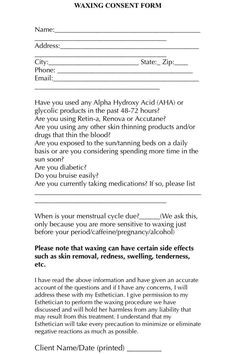 A simple and easy waxing consent form for your clients to use before their waxing appointment!: A simple and easy waxing consent form for your clients to use before their waxing appointment! Derma Wax, Massage Facial, Wax Studio, Facial Room, Esthetics Room, Waxing Tips, Beauty Salon Decor, Beauty Bar, Diy Beauty