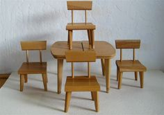 Danish Modern Table and Chairs/ Strombecker Doll by elansolete, $39.00