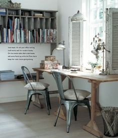 This is the look for the new kitchen - when country shabby chic meets soft industrial touches