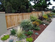 Stunning fence ideas for back yard and front yard 11 Wood Chips Landscaping, Landscaping Plants, Front Yard Landscaping, Landscaping Ideas, Drought Tolerant Landscape, Low Maintenance Landscaping, Exterior, Yard Design, Outdoor Gardens
