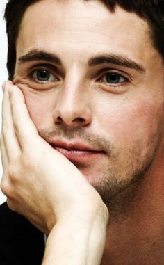 Matthew Goode listening to my story about how I fell off a ladder today. He's trying not to laugh.