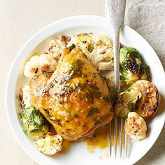 Honey-Mustard Chicken with Cauliflower Take your next dinner to sweet and saucy with a brush of honey-mustard glaze.