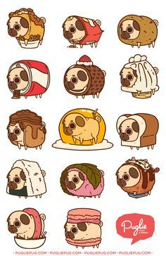 """Puglie get outta dem foods!"" Series Two by pugliepug Art Kawaii, Cute Animal Drawings Kawaii, Kawaii Drawings, Cute Drawings, Pug Cartoon, Pug Pictures, Fanarts Anime, Cute Doodles, Cute Comics"